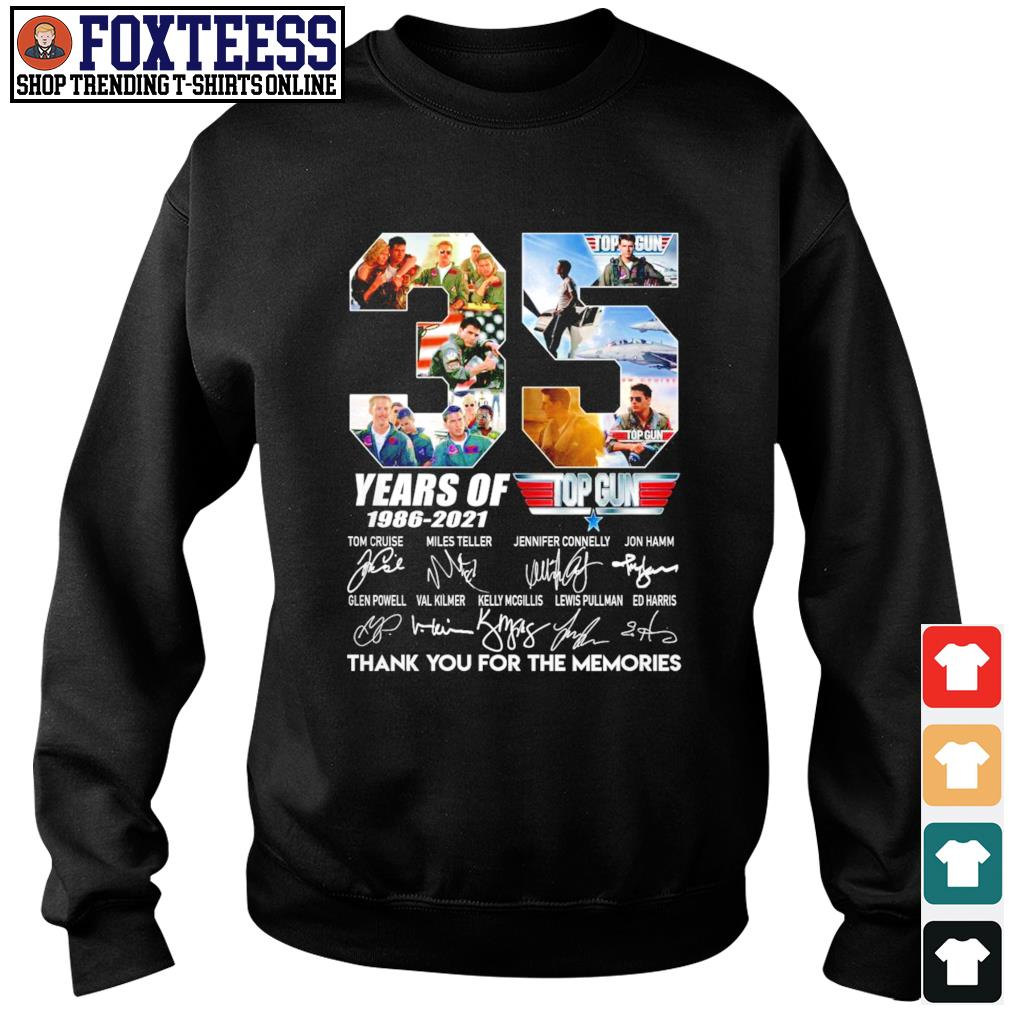 Top gun 35 years of 1986 2021 thank you for the memories signature s sweater