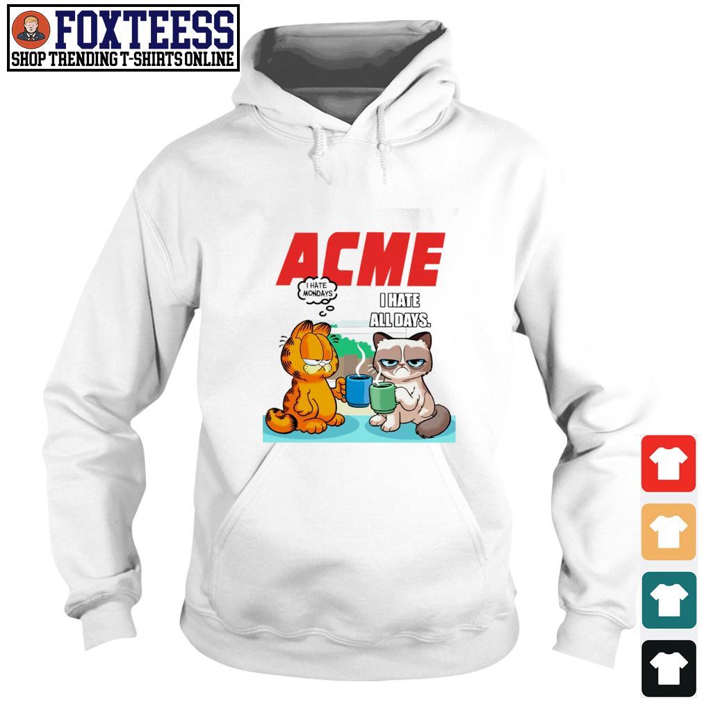 Acme garfield I hate monday grumpy cat I hate all days s hoodie