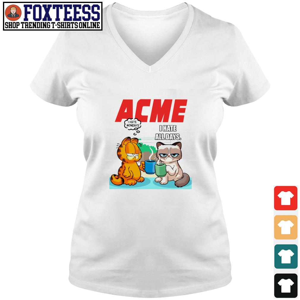 Acme garfield I hate monday grumpy cat I hate all days s v-neck t-shirt