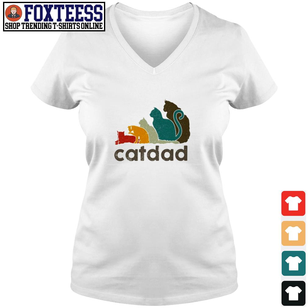 Adidas cat dad vintage s v-neck t-shirt