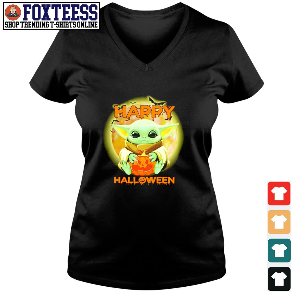Baby yoda happy halloween s v-neck t-shirt