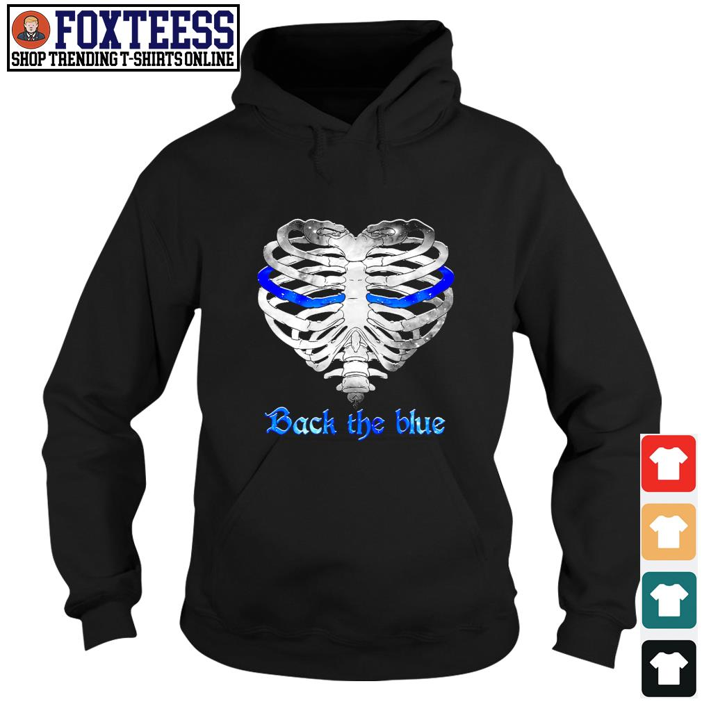 Back the blue heart skeleton s hoodie