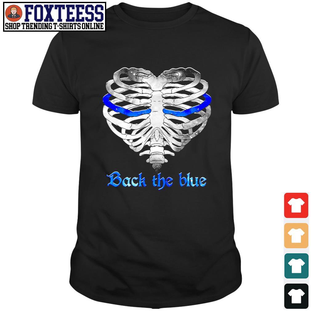 Back the blue heart skeleton shirt