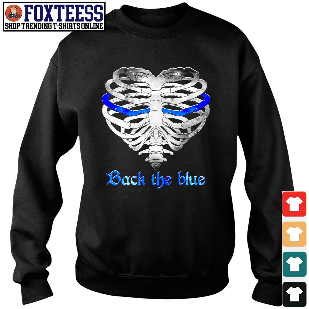 Back the blue heart skeleton s sweater