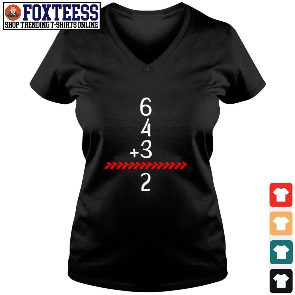 Baseball inspired 6 4 3 double play turn two s v-neck t-shirt