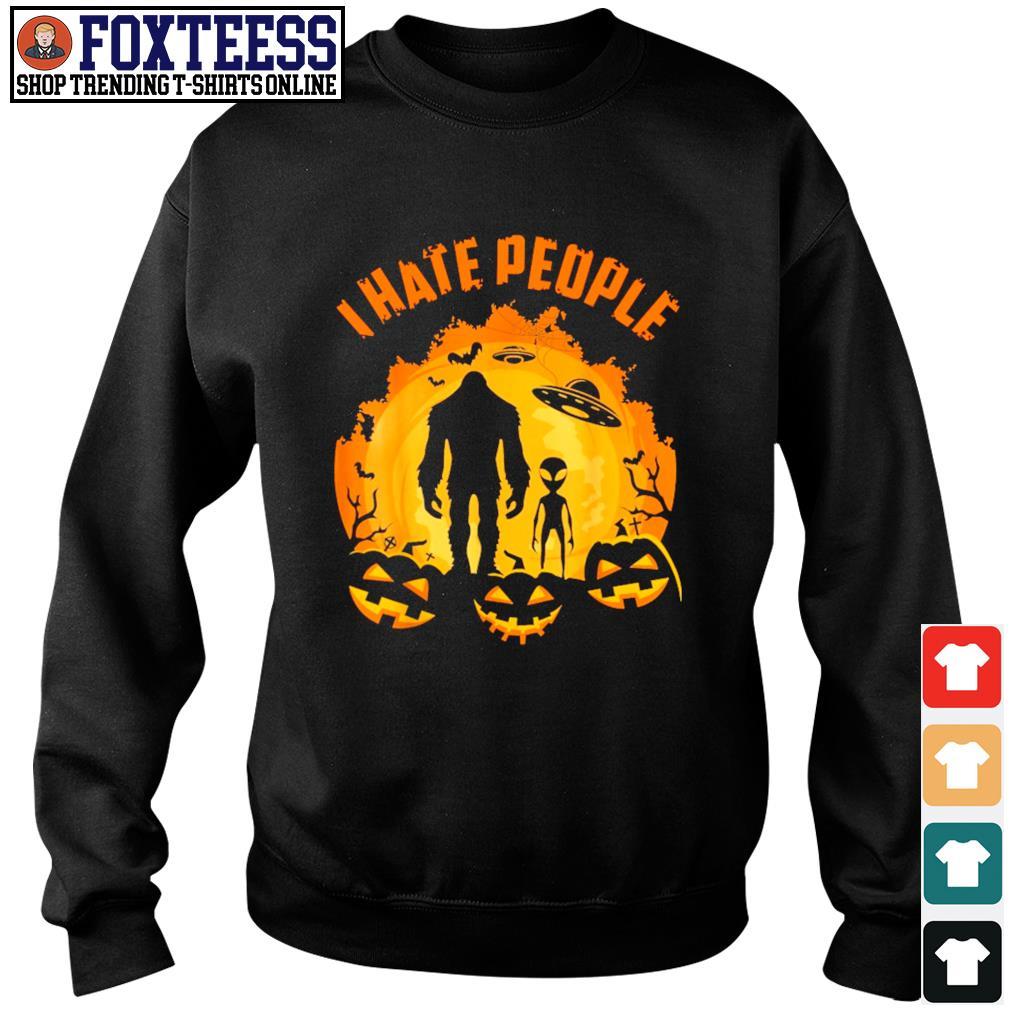 Bigfoot alien UFO I hate people pumpkin halloween s sweater