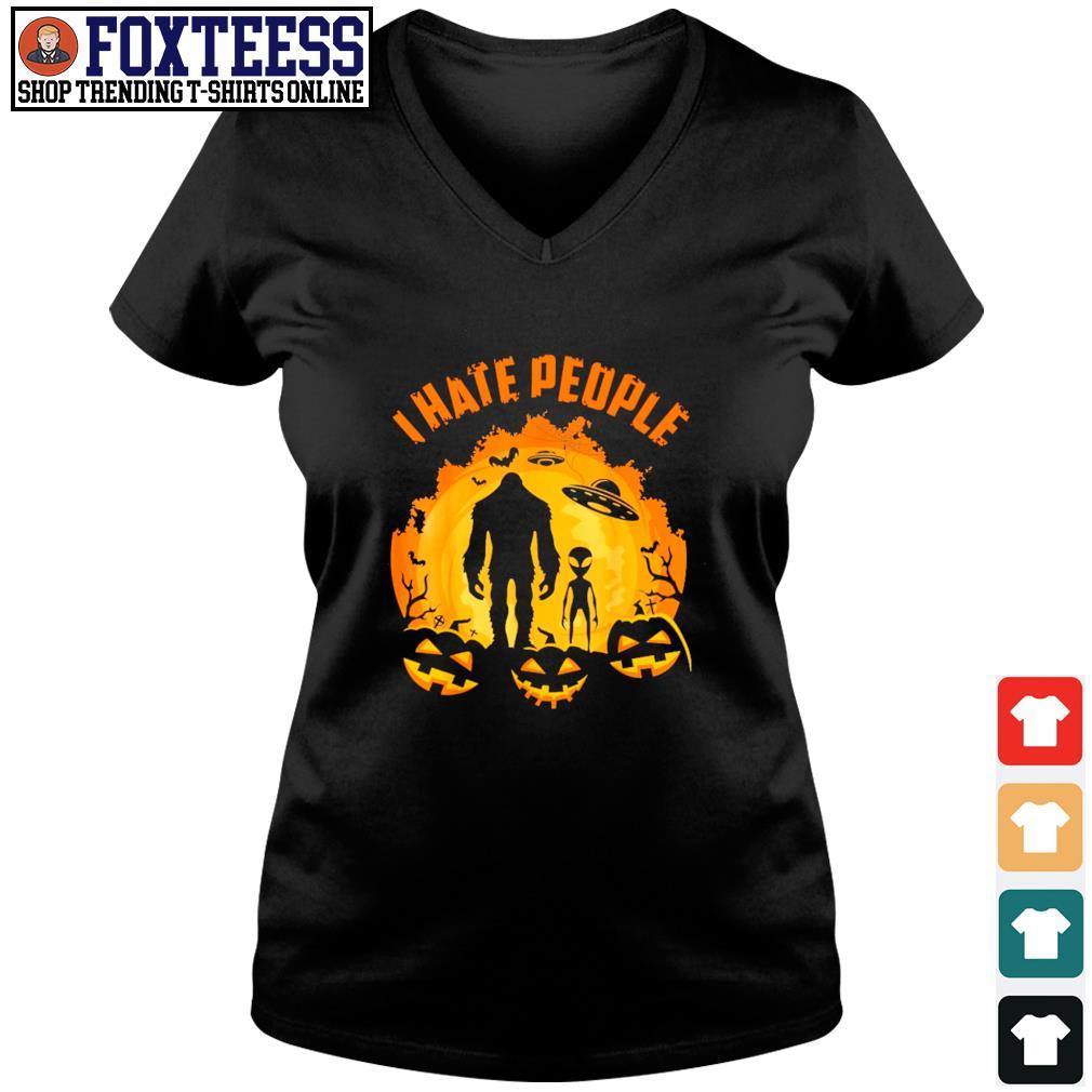 Bigfoot alien UFO I hate people pumpkin halloween s v-neck t-shirt