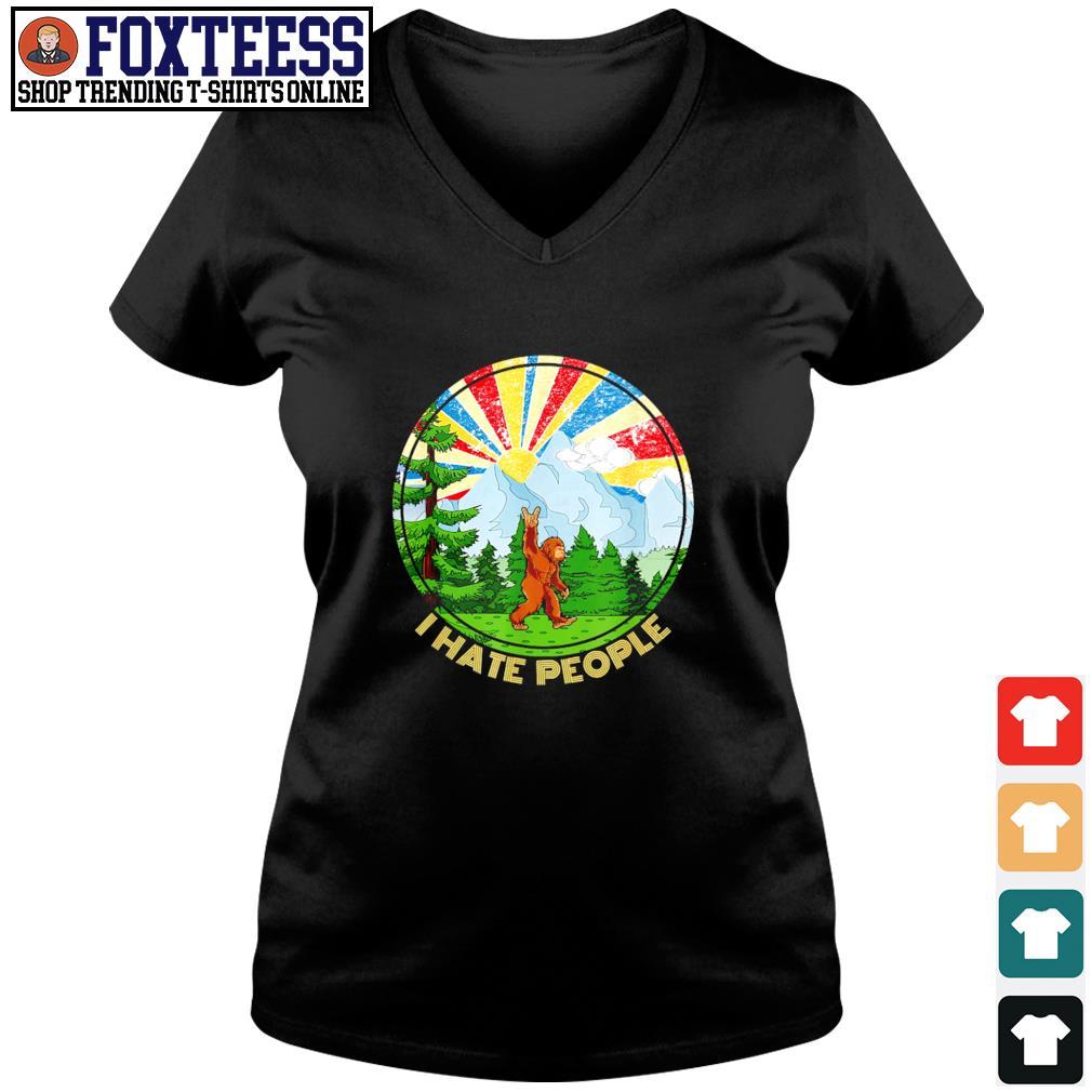Bigfoot mount sunshine I hate people s v-neck t-shirt