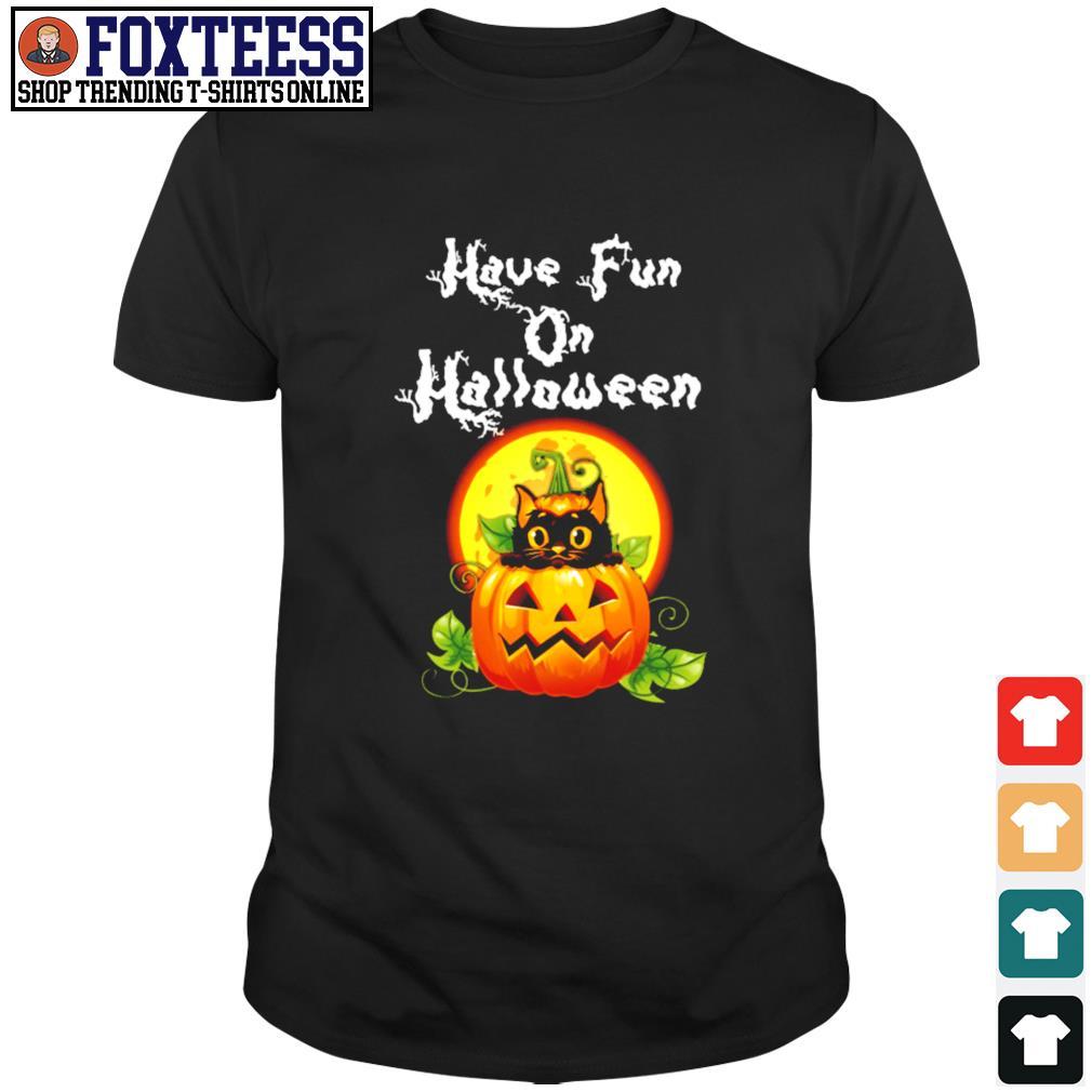 Cat have fun on halloween pumpkin shirt