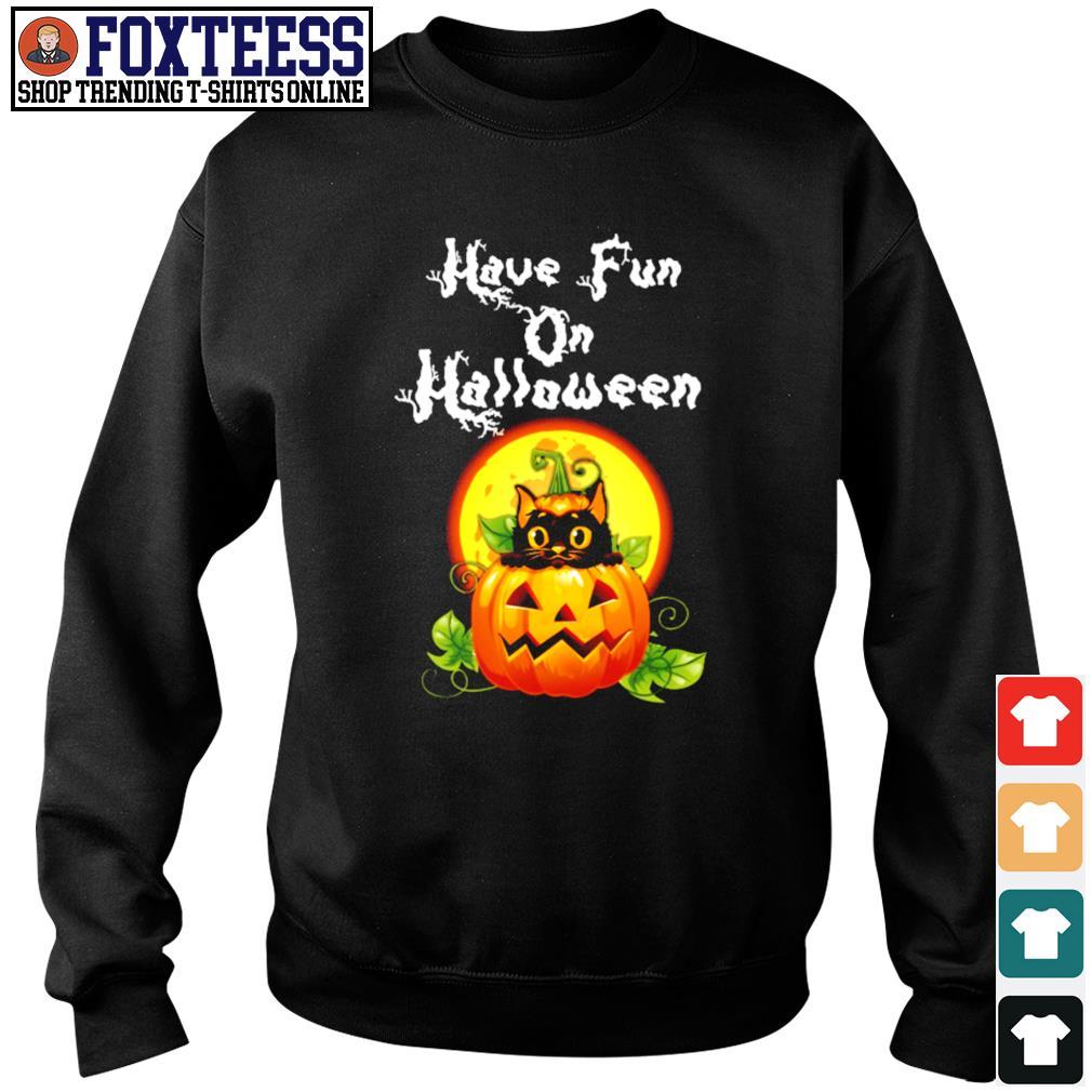 Cat have fun on halloween pumpkin s sweater