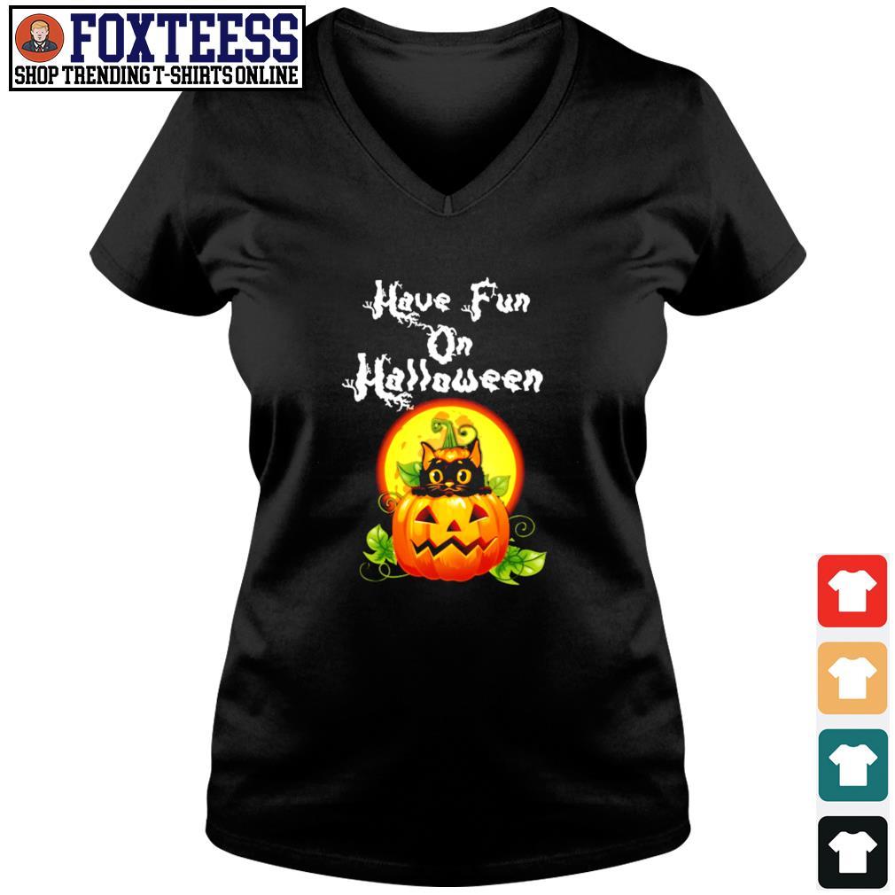 Cat have fun on halloween pumpkin s v-neck t-shirt