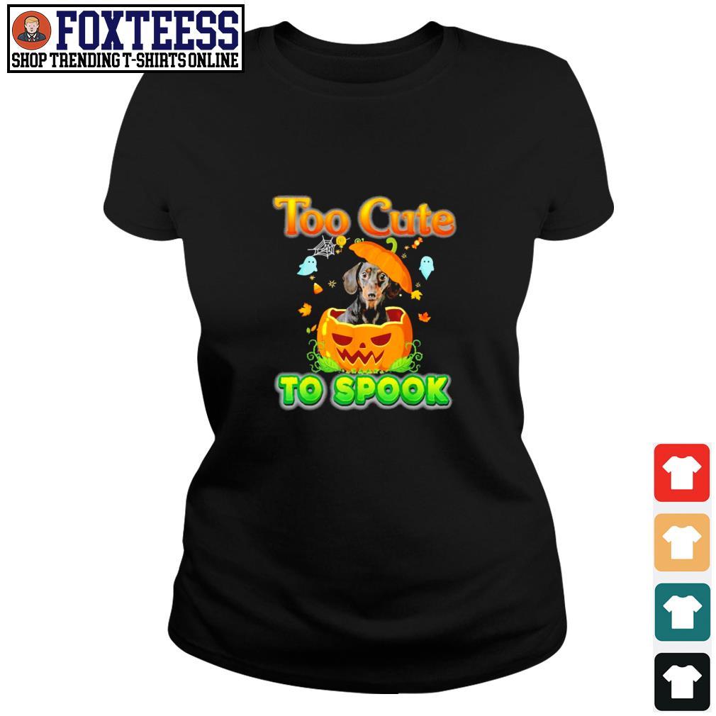 Dachshund too cute to spook pumpkin halloween s ladies-tee