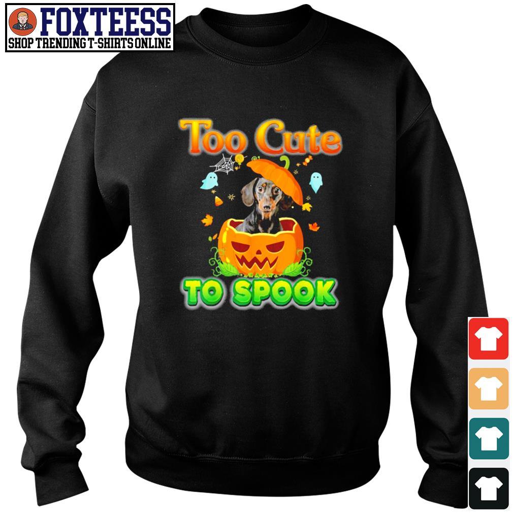 Dachshund too cute to spook pumpkin halloween s sweater