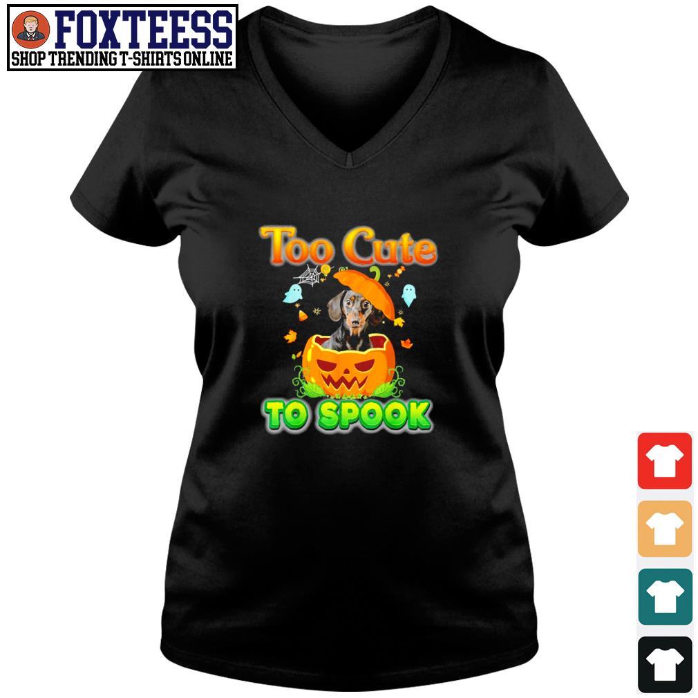 Dachshund too cute to spook pumpkin halloween s v-neck t-shirt