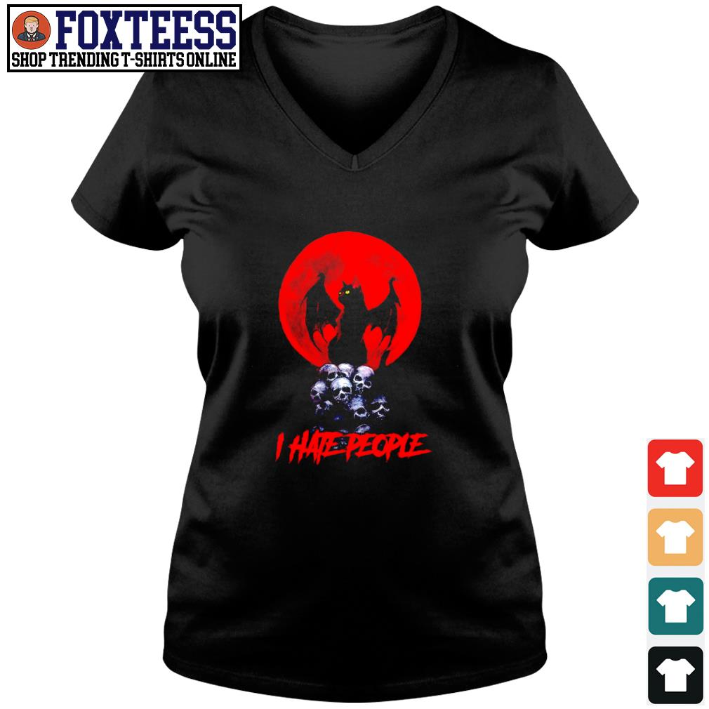 Devil meow I hate people s v-neck t-shirt