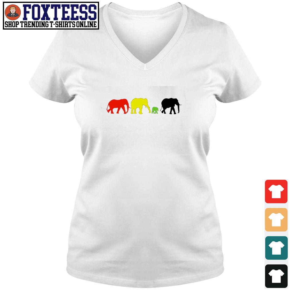Elephant red yellow green black live matter s v-neck t-shirt