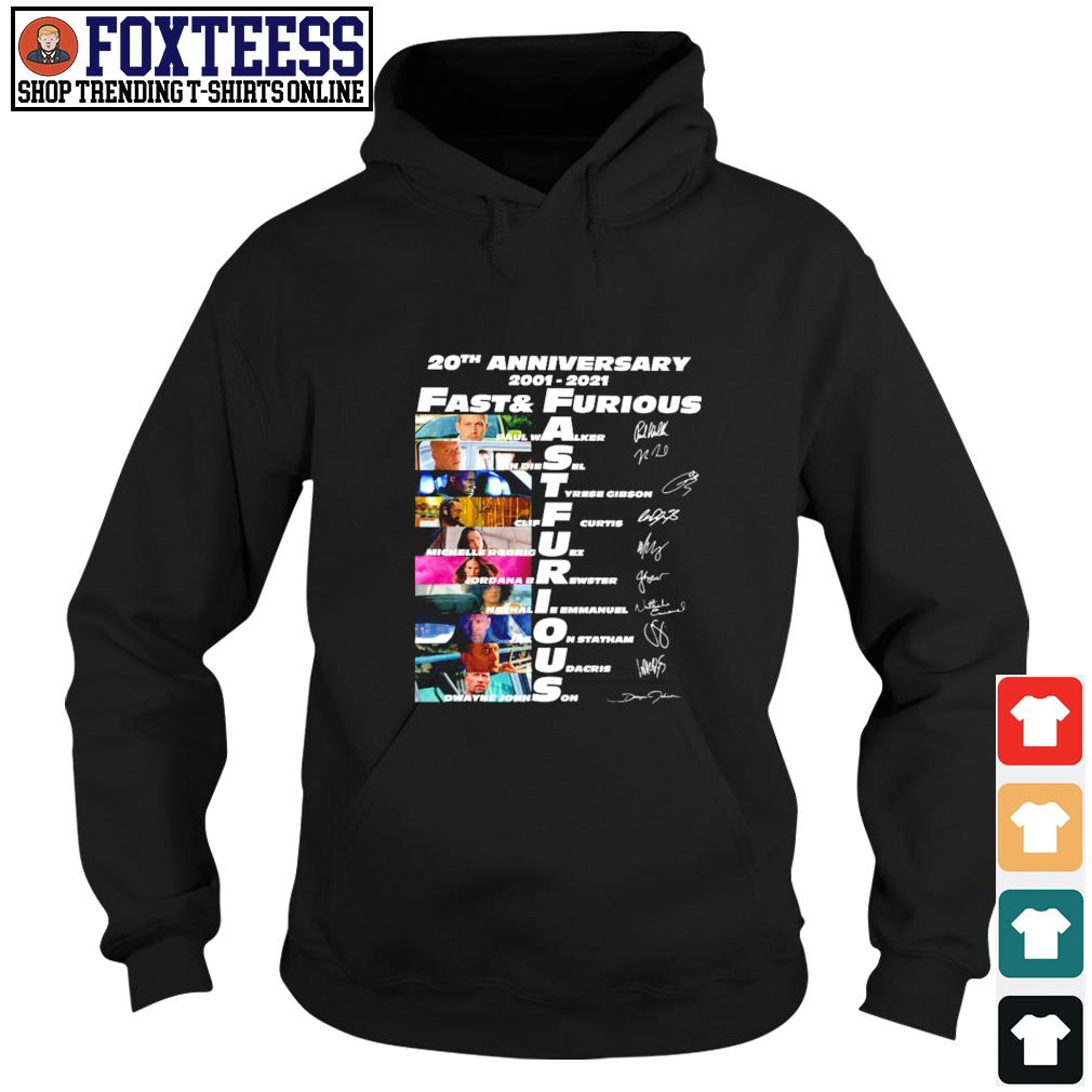 Fast and furious 20th anniversary 2001 2021 signature s hoodie