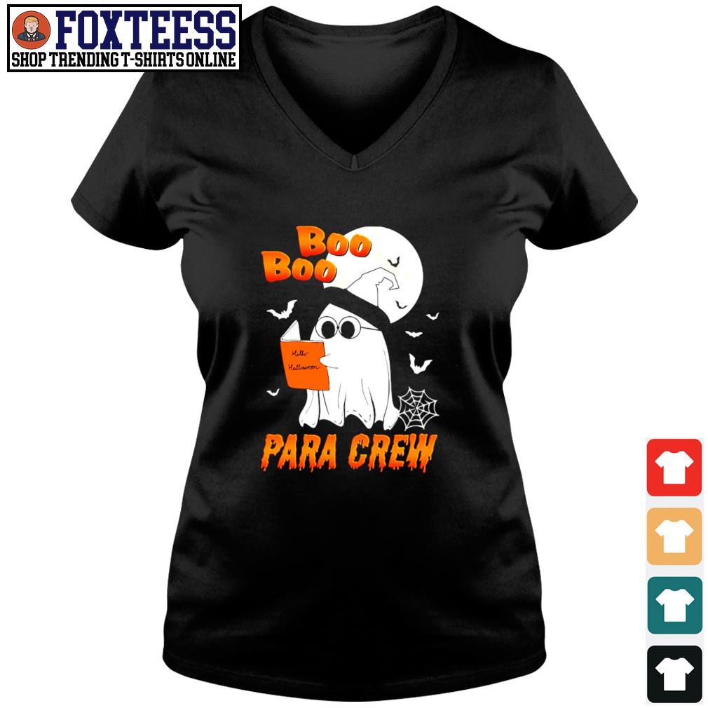 Ghost boo para crew para book halloween s v-neck t-shirt