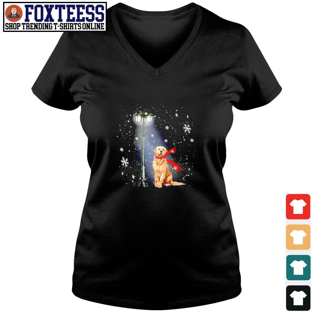 Golden Retriever for the santa claus christmas s v-neck t-shirt