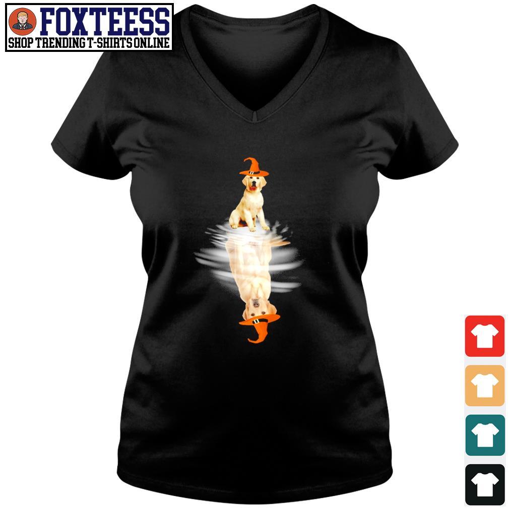 Golden retriever water reflection halloween s v-neck t-shirt