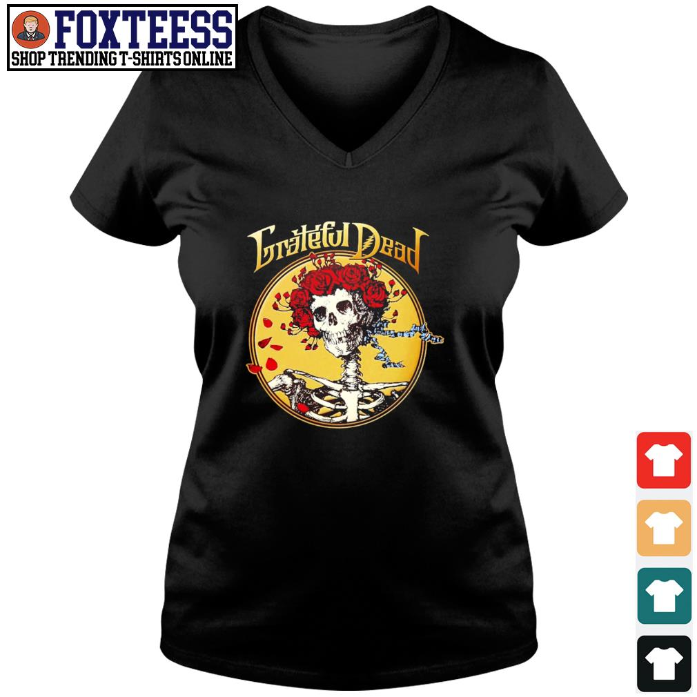 Grateful dead skull rose s v-neck t-shirt