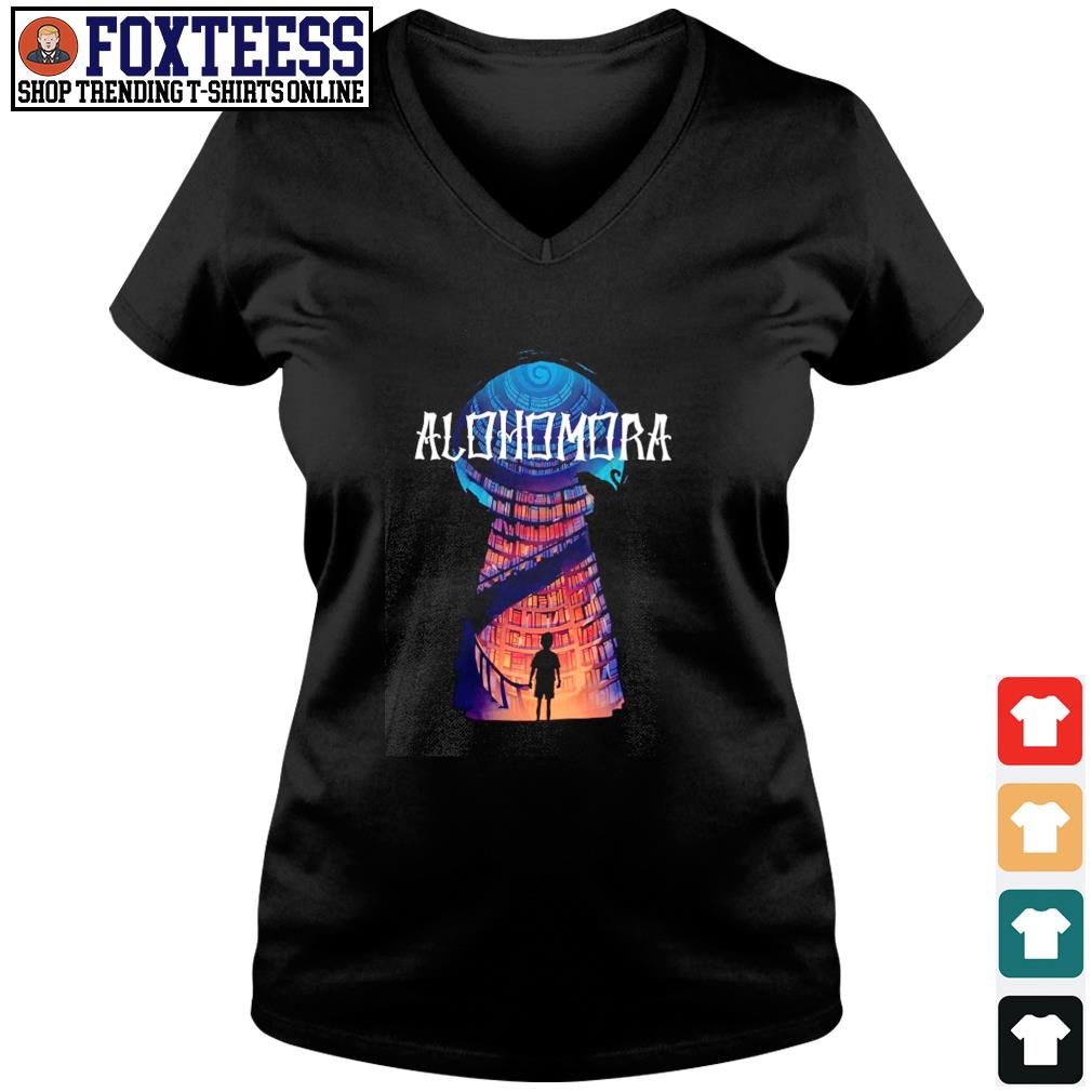 Harry potter alohomora historic library s v-neck t-shirt