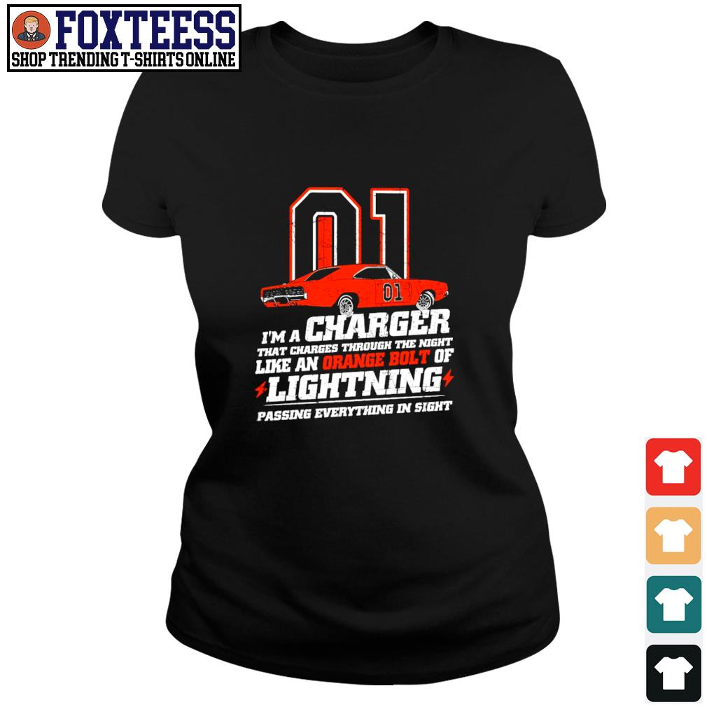 I'm a charger that charges through the night like an orange bolt of lightning s ladies-tee