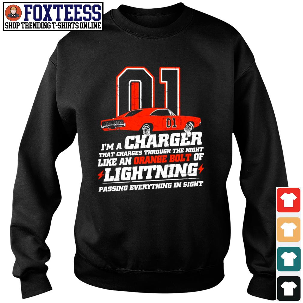I'm a charger that charges through the night like an orange bolt of lightning s sweater