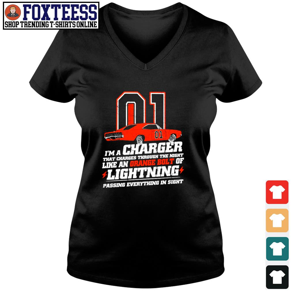 I'm a charger that charges through the night like an orange bolt of lightning s v-neck t-shirt