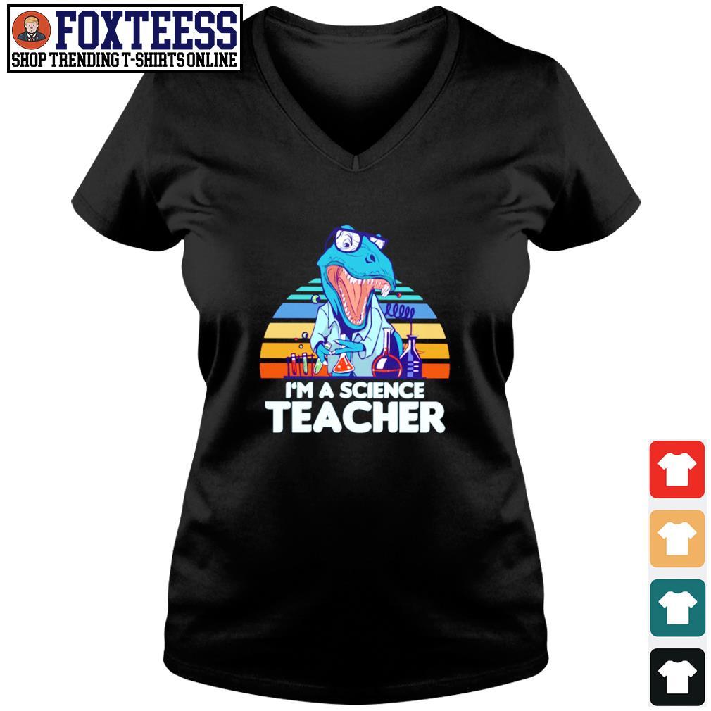 I'm a science teacher dinosaurus vintage s v-neck t-shirt