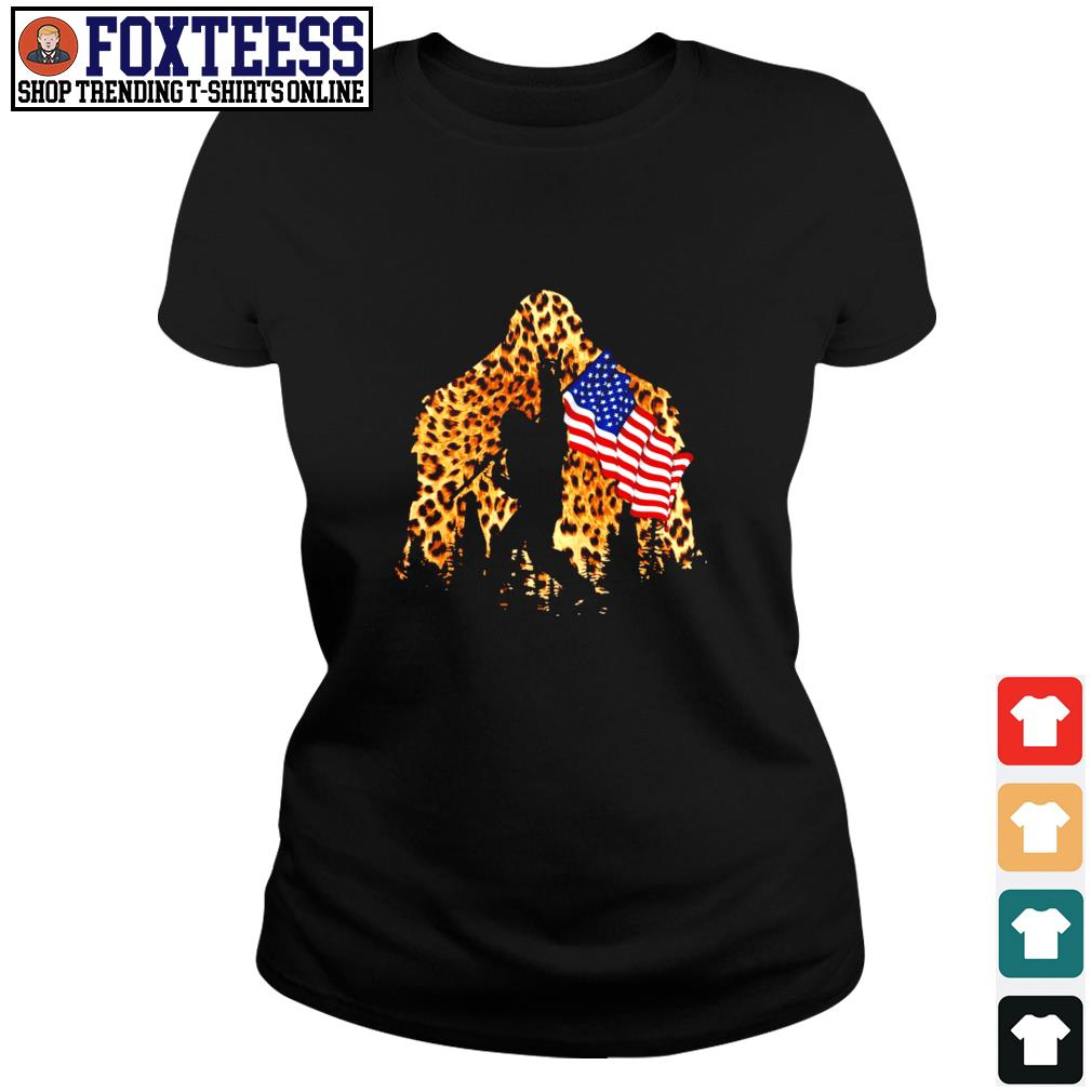 Leopard bigfoot rock and roll american flag s ladies-tee