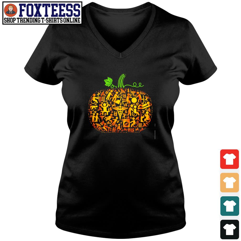 Occupational therapy pumpkin halloween s v-neck t-shirt