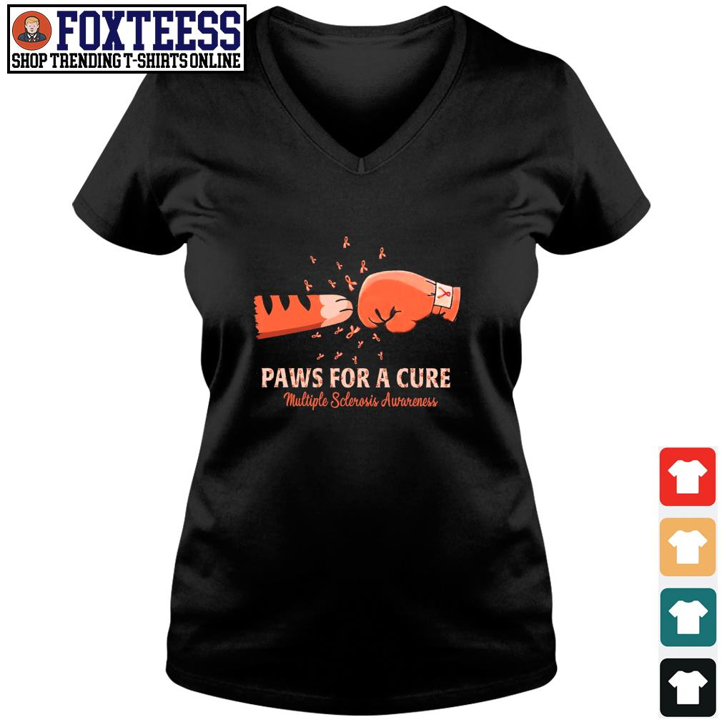Paw for a cure multiple sclerosis awareness cancer s v-neck t-shirt