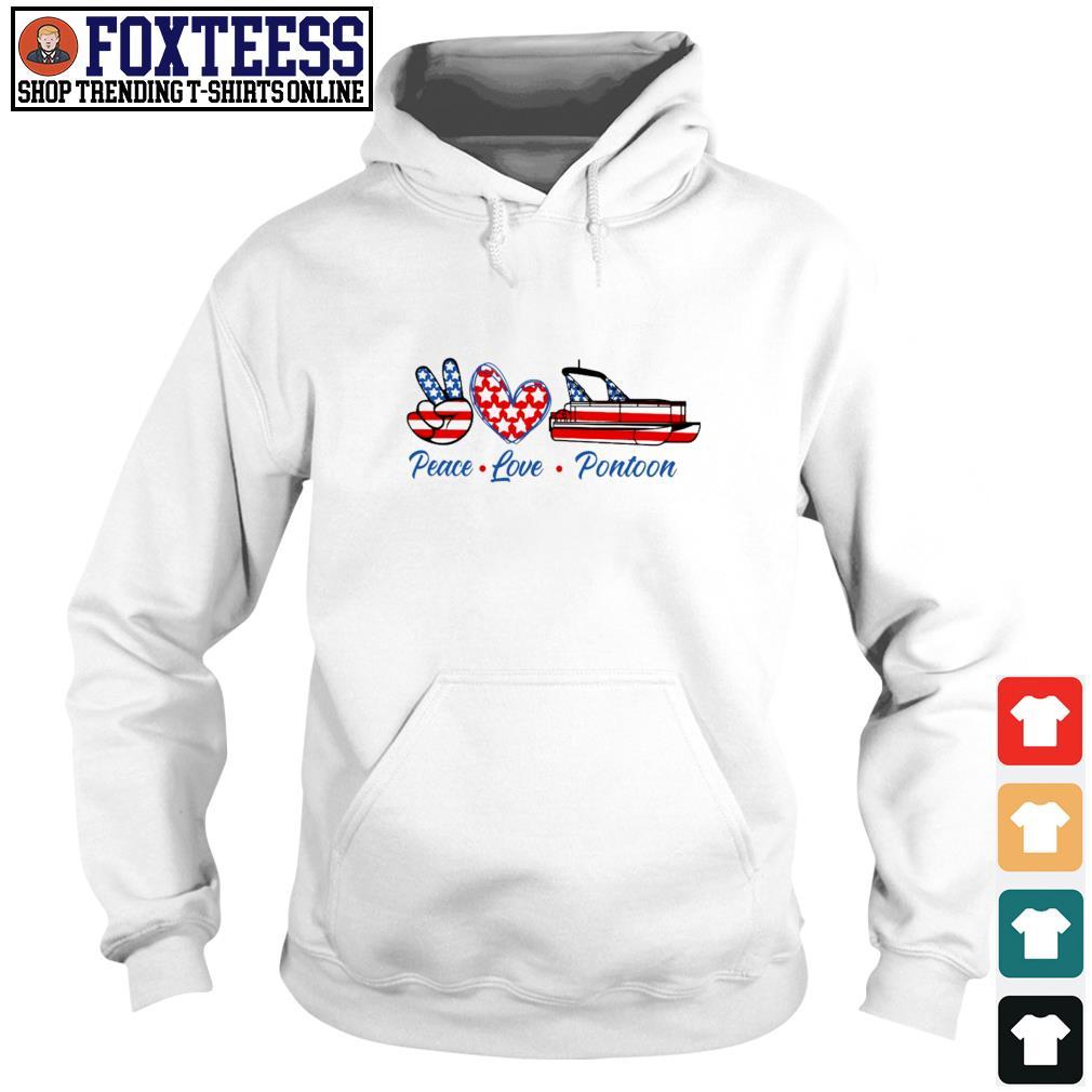 Peace love pontoon american flag s hoodie