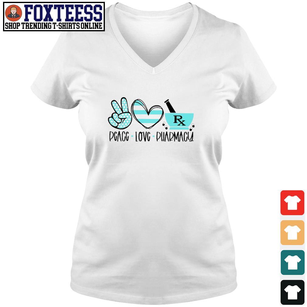 Pharmacist peace love pharmacy s v-neck t-shirt