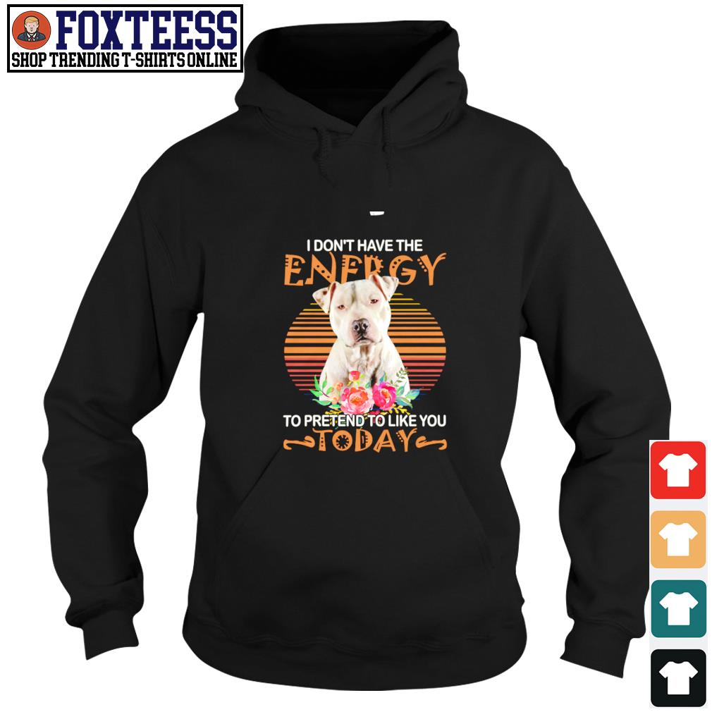 Pitbull I don't have the energy to pretend to like you today s hoodie