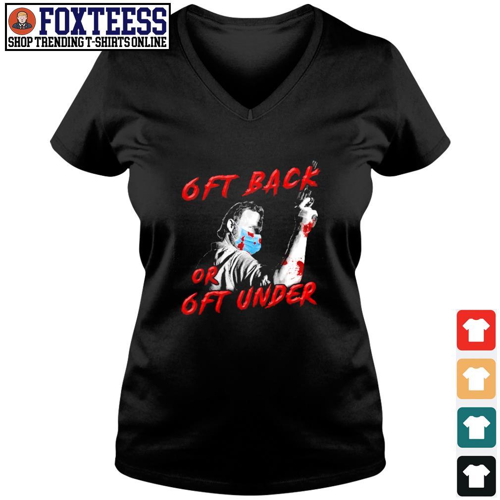 Rick grimes mask 6ft back or 6ft under s v-neck t-shirt