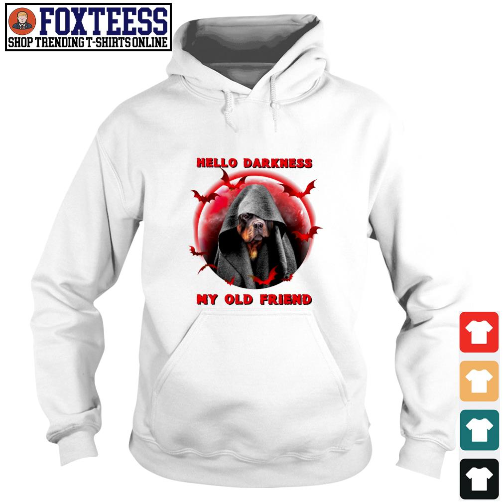 Rottweiler hello darkness my old friend blood moon s hoodie