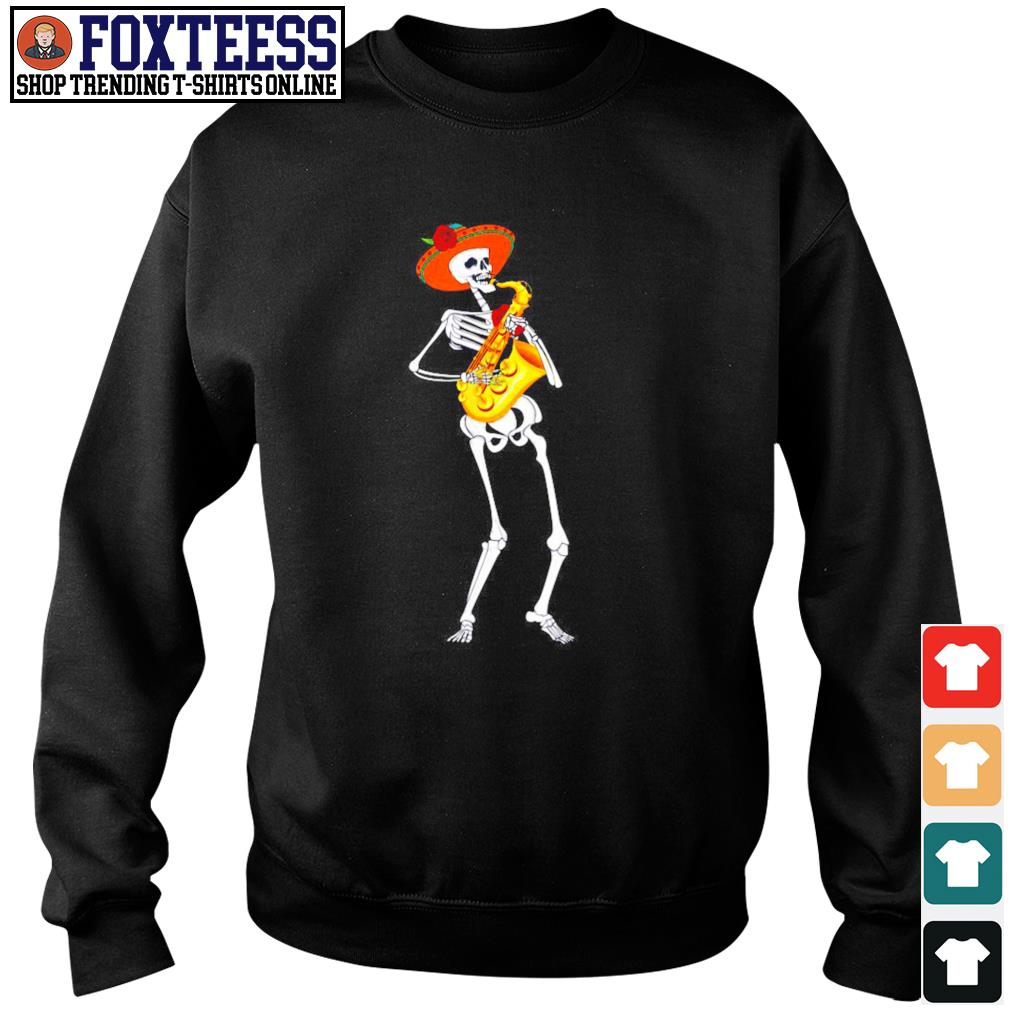 Skeleton playing saxophone s sweater
