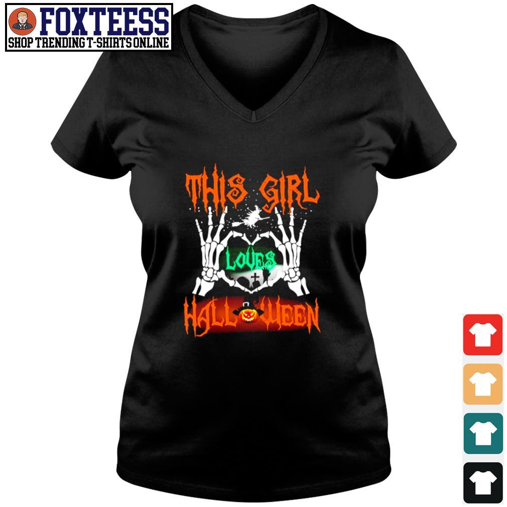 Skull hand this girl loves halloween s v-neck t-shirt