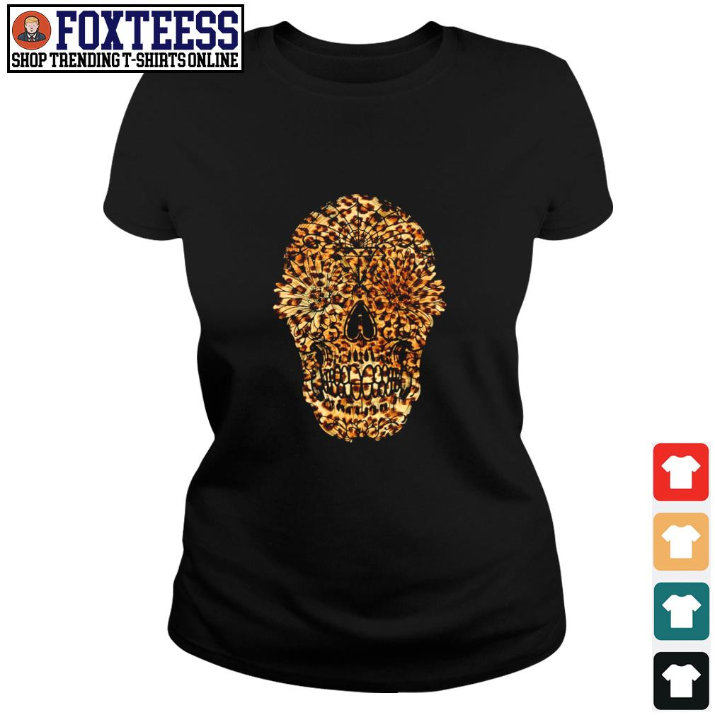 Skull leopard sunflower s ladies-tee