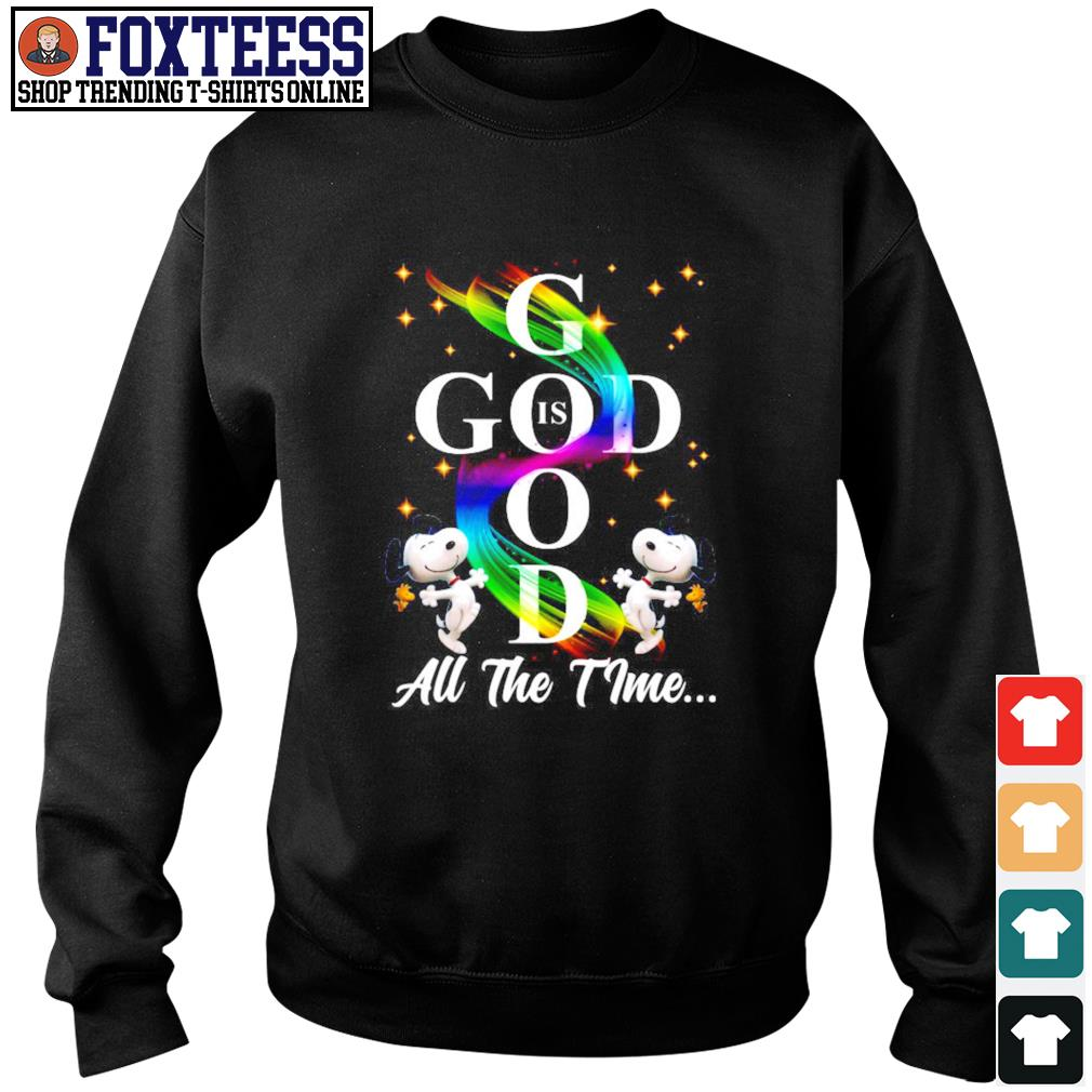 Snoopy god is god all the time rainbow s sweater
