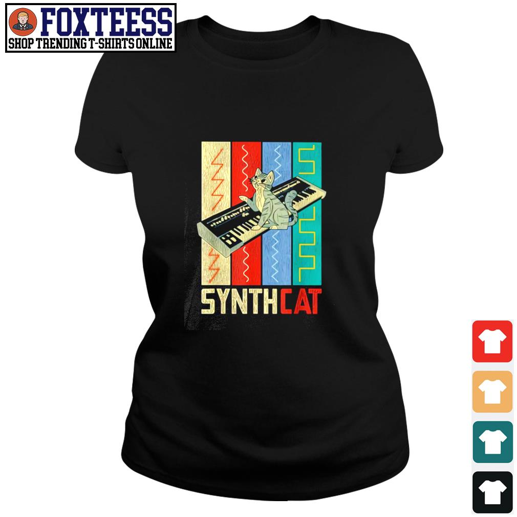 Synthesizer synth cat vintage s ladies-tee
