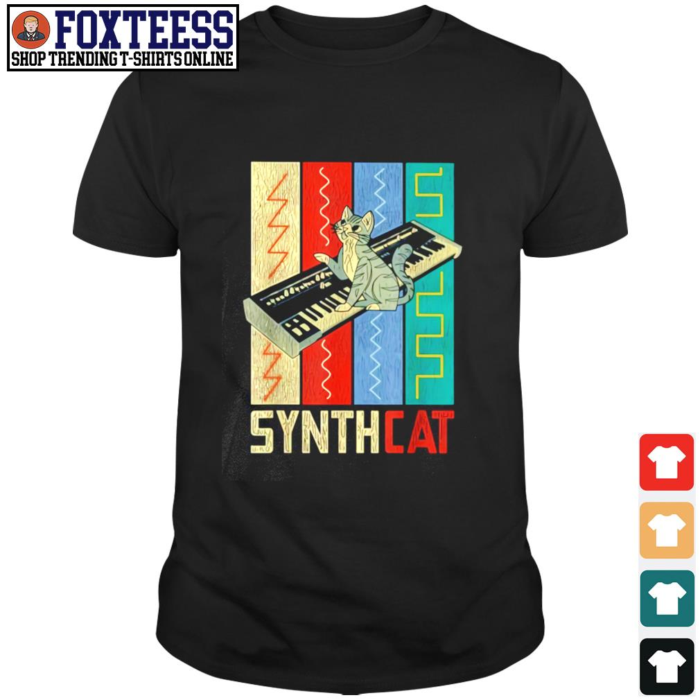 Synthesizer synth cat vintage shirt