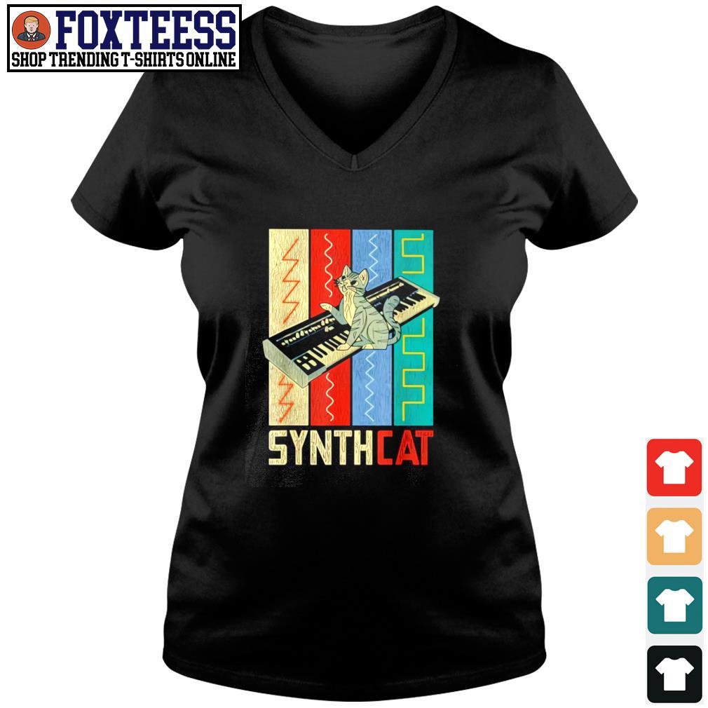 Synthesizer synth cat vintage s v-neck t-shirt