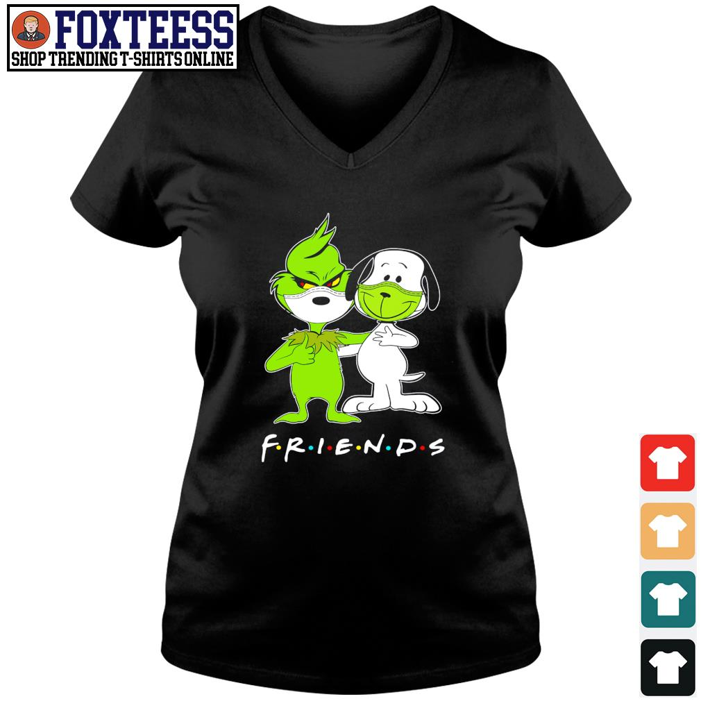 The grinch snoopy mask friends s v-neck t-shirt