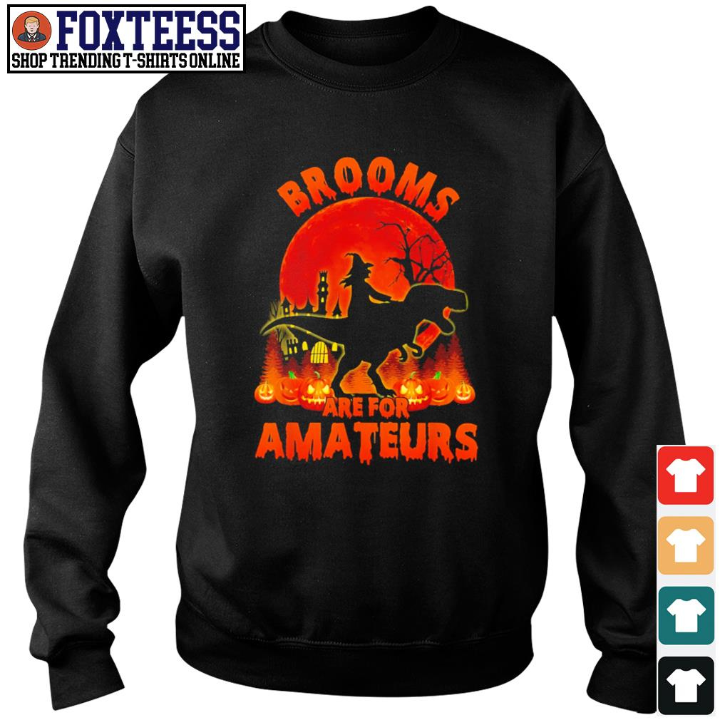 Witch riding dinosaurs Brooms are for amateurs halloween s sweater